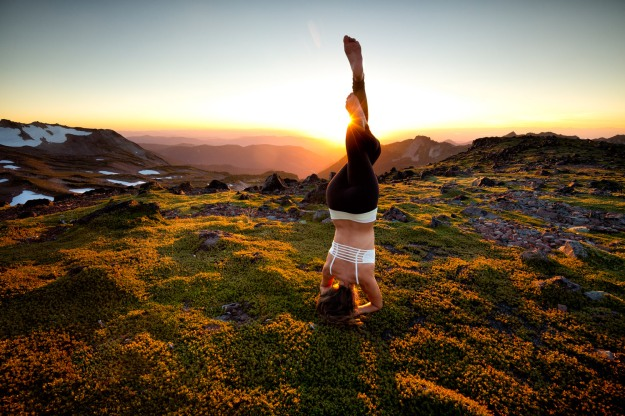 Lifestyle: Mary Little practicing yoga in the wilderness of Mt. Rainier National Park, Washington
